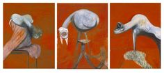 Three Studies for Figures at the Base of a Crucifixion, c1944, Francis Bacon. #art