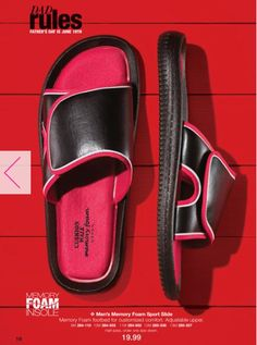 Men's sporty slides with Memory Foam footbed for customized support. A perfect errand slip-on shoe.  FEATURES • Memory Foam footbed for customized comfort • Adjustable upper • Lightweight • Half sizes, order one size down Check them out at my eStore: https://jtomlinson.avonrepresentative.com/
