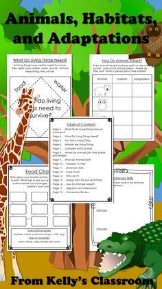 ($) Animals, Habitats, and Adaptations.  Integrated thematic unit supplement.  Grades 1 through 3.  #kellysclassroom