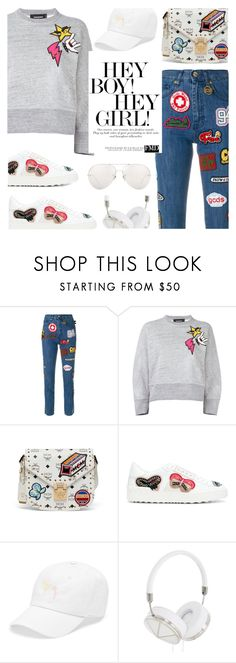 """HEY!"" by rasa-j ❤ liked on Polyvore featuring GCDS, Dsquared2, MCM, Valentino, Victoria's Secret, Frends, Linda Farrow and womensFashion"