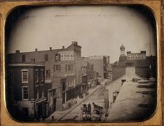 Third Street, looking North from Olive Street, showing St. Louis Intelligencer Office, 1854. Photograph by Thomas M. Easterly. Missouri History Museum.