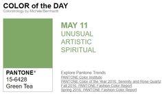 ...y el color de hoy es Té Verde, un color raro, artístico, espiritual. Más info en http://www.pyma.com/tutoriales-y-trucos/y-los-colores-pantone-de-esta-semana-sonsemana-del-9-al-15-de-mayo/