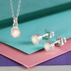Embers Gemstone Jewellery Opal October Birthstone Silver Jewellery Set ($84) ❤ liked on Polyvore featuring jewelry, opal jewellery, birthstone jewellery, birthstone jewelry, opal birthstone jewelry and silver jewellery