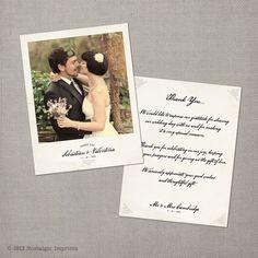 Valentina - 4.25x5.5 Vintage Wedding Polaroid Thank You Card