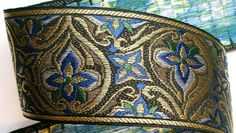 Woven Ribbon 2 3/8 x 3 yards Black Blue Green and by LesBonRibbon