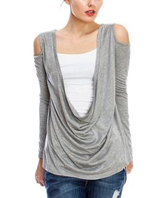 Love this Heather Gray Plunging Drape Top by First Feeling on #zulily! #zulilyfinds
