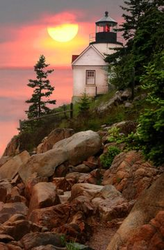 ♜␟ Bass Harbor Lighthouse, Arcadia National Park, Maine, USA (Photo by Linda Lester) Arcadia National Park, Parc National, Bass Harbor Lighthouse, Saint Mathieu, Parque Natural, Harbor Lights, Lighthouse Pictures, Beautiful Landscapes, Places To See