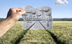 Ladder to the skies: Another image from the Pencil Vs Camera series by Belgian visual artist Ben Heine