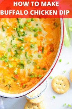 Have you wondered How to Make Buffalo Chicken Dip? It is so easy and the perfect game-day or tailgating snack. We love serving this creamy chicken dip with chips, veggies, crackers or baguette. // acedarspoon.com Buffalo Chicken Dip Recipe, Chicken Dips, Best Chicken Recipes, Creamy Chicken, Easy Appetizer Recipes, Appetizer Dips, Yummy Appetizers, Easy Recipes, Snack Recipes
