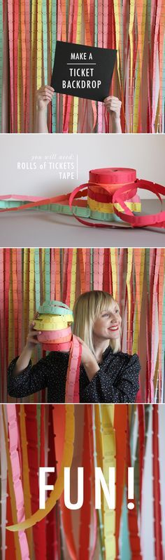 Dammiiiiiiiiiiiiiiiiit! Another good idea that never crossed my mind. How fun is this?! DIY ticket backdrop for a photobooth