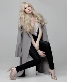 """""""My style in general is classic with a bit of an edge. I love taking pieces with classic silhouettes and adding an accessory or a fun print or something to make it really young and fun. Katherine Mcnamara, Grey Blonde Hair, Red Hair, Blonde Actresses, Shadow Hunters, Elegant Woman, Beautiful People, Hot Girls, Celebrity Style"""