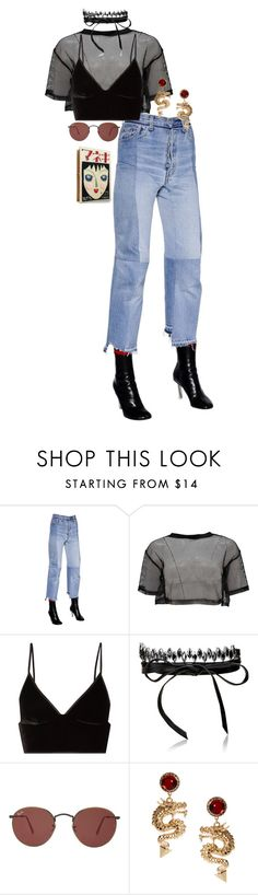 """""""Untitled #1519"""" by katrinaballerina ❤ liked on Polyvore featuring Vetements, Boohoo, T By Alexander Wang, Fallon, Ray-Ban, ASOS and Olympia Le-Tan"""