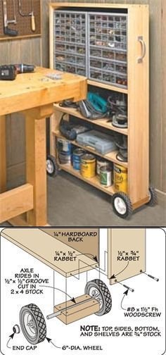 Pull-out rolling shelf w/strong coasters that can change direction. Perfect for moving around in the garage when working on projects.