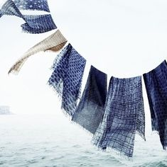 blue shibori over the sea