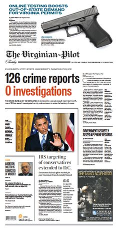 The Virginian-Pilot's front page for Tuesday, May 14, 2013.