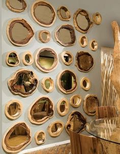 Organic wood frame mirrors