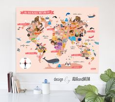 Animal planet world map for kids continents oceans animals girlish animal world map pinkish poster map of the world oh the places you will go printable instant download educational nursery decor gumiabroncs Image collections