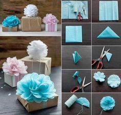 Napkins as ribbon-bow to decorate gift boxes