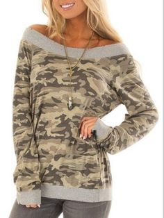 Camouflage Long Sleeve Paneled Simple & Basic T-Shirts Blouses For Women, T Shirts For Women, Camouflage, Floral Print Shirt, Clothing Patterns, Shirt Outfit, Shirt Sleeves, Types Of Shirts, Types Of Sleeves