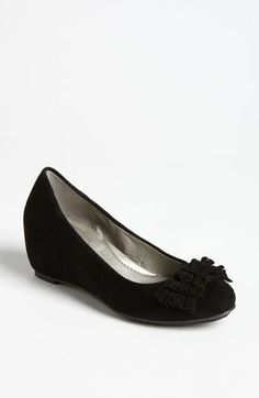 """$49.96 on @Keaton Row website, arranged with full of fashion... click to see it in action. A pretty-in-pleats bow perfects the charm of a comfy, covered-wedge pump in soft suede.  Approx. heel height: 2 1/2"""". Suede upper/synthetic lining/rubber sole. By Me Too"""