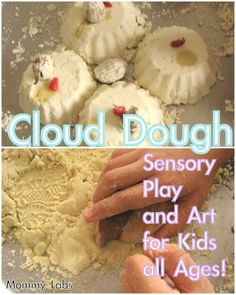 Cloud Dough will mesmerize every child - no matter what the age. For younger kids - as in toddlers, this could be the best sensory material, I think. No exaggeration there.. Check out the recipe and unique play and art ideas with cloud dough. At www.mommy-labs.com
