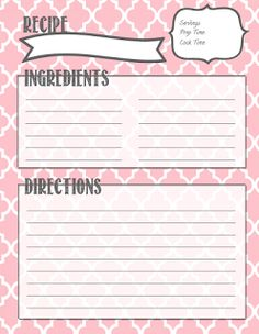 Diy recipe book pages print these out for residents to write down recipe binder printables solutioingenieria Choice Image