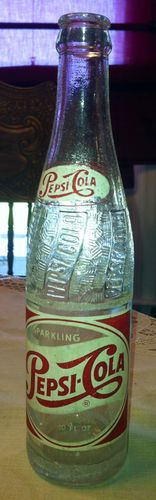 Vintage 1958 Sparkling Pepsi Cola Bottle / I drank at least one a day in Josie's.  Boo to plastic.