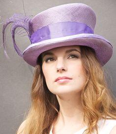 Lavender Straw Victorian Riding Hat. Kentucky Derby Hat. Top Hat Mad Hatter. #hat
