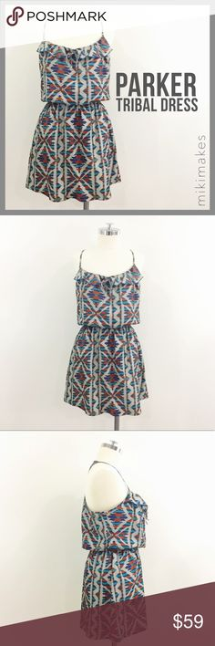 "🆕 PARKER • multicolored brick tribal print dress • cute multicolored brick print dress from Parker • spaghetti straps with race back • small ruffle neck with cinched drawstring detail • elastic waist • small side snag under the armpit so not visible • fabric has no stretch  100% polyester  ✂️  Bust = 41"" ✂️  Waist = 36"" (elastic maximum) ✂️  Length = 16"" (waist to hem)  • sorry no trades • please feel free to ask any questions  ❤️ @mikimakes Parker Dresses Mini"