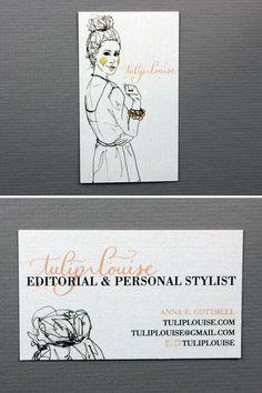 Tulip Louise / Anna E. Cottrell  tuliplouise.com Unique Business Cards, Business Card Design, Anna, Calling Cards, Tulip, Card Making, Blush, Branding, Graphic Design