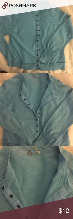 Blue Sky soft Cardigan w cool button detail. Very cute soft sweater. Pretty blue with black button detail. Short but not crop. Sized as Large but fits a medium so listing it accurate. No stains rips. Gently worn. So cute w boyfriend jeans, toms and fedora over a white tee. Sweaters Cardigans