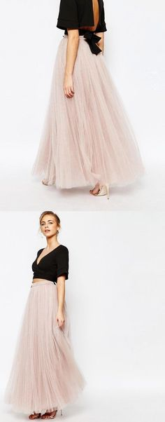 Womens Long Tutu Tulle Skirt A Line Floor Gradient Black and White Length Special Occasion Night Out fold Skirt