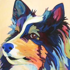 contemporary dog portrait commission by Carolee Clark