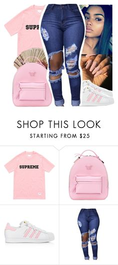 """"""""""" by shawtyash ❤ liked on Polyvore featuring Versace and adidas"""