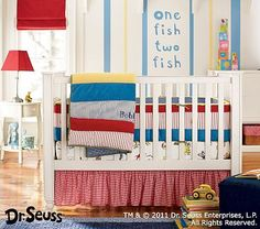 If & When I ever have a baby boy I would love to do his room in Dr. Suess! I would one more of the Cat in the Hat look with the bold red & aqua though