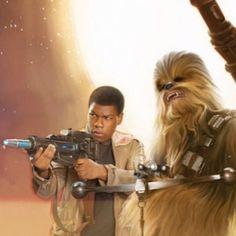John Boyega posa ao lado de Chewbacca em imagem de 'Star Wars: O Despertar da Força'
