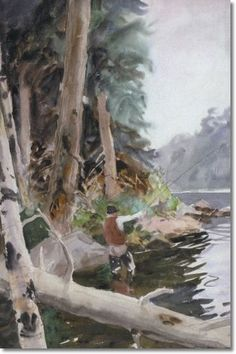 John Whorf - Fisherman Casting - Approximate Original Size - 22x15