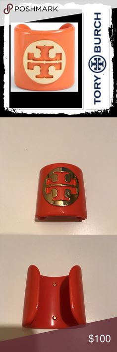 Tory Burch cuff bracelet Burnt orange Tory Burch cuff with gold logo open in the back to easily take on and off excellent used condition Tory Burch Jewelry Bracelets