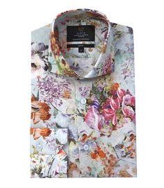 Men's Blue & Pink Ikat Peony Digital Print Slim Fit Fashion Shirt - High Collar