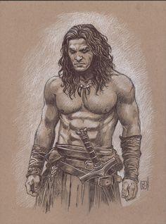 Conan (Jason Momoa) . Ballpoint pen and chalk on brown paper by Jan Duursema