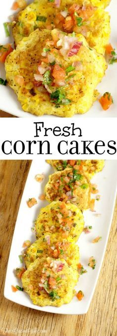 Sweet Corn Cakes Recipe - Fried to perfection! What an easy vegetable summer side dish! I think it would be a great way to use up leftover corn on the cob too!