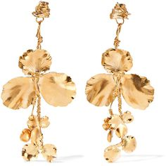 Balenciaga Gold-tone earrings ($465) ❤ liked on Polyvore featuring jewelry, earrings, gold, balenciaga jewelry, gold tone earrings, earring jewelry, balenciaga and wrap earrings