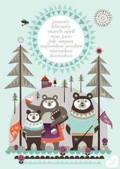 New Goldilocks poster from Isak! Featuring the three bears and the months of the year in the burning sun! Pattern Illustration, Children's Book Illustration, Theme Noel, Months In A Year, Illustrators, Print Patterns, Fairy Tales, Design Inspiration, Drawings