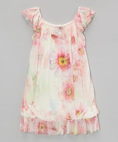 Look at this Cinderella Couture Pink Floral Layered Angel-Sleeve Dress - Toddler & Girls on #zulily today!