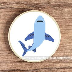 Shark - PDF counted cross stitch pattern - Instant download - Nautical