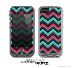 The Sharp Pink & Teal Chevron Pattern Skin for the Apple iPhone 5c LifeProof Case on Etsy, $9.99