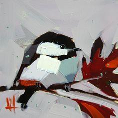 Chickadee no. 556 original bird oil painting by Angela Moulton