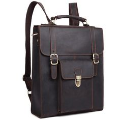 """Main Materials:Genuine Leather Size: L: 12"""" W: 4.1"""" H:14"""" Interior: Withinthe zipper of this unique leather backpack there are six separatecompartments. A sm"""
