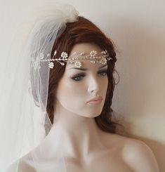 Wedding Headband Bridal Pearl Hair Vine Bridal Headband by ADbrdal