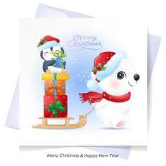Cute polar bear and penguin for christm... | Premium Vector #Freepik #vector Merry Christmas Background, Merry Christmas Banner, Merry Christmas Greetings, Christmas Labels, Christmas Greeting Cards, Christmas Trees, Baby Polar Bears, Cute Polar Bear, Watercolor Cards